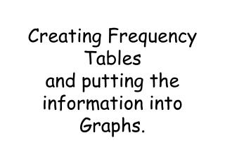 Creating Frequency Tables  and putting the information into Graphs.