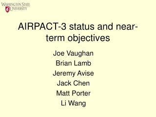 AIRPACT-3 status and near-term objectives