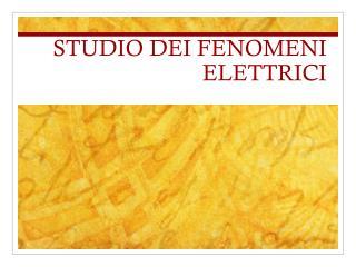 STUDIO DEI FENOMENI ELETTRICI