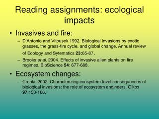Reading assignments: ecological impacts