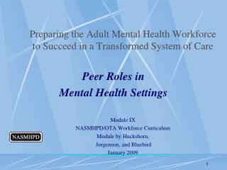 Preparing the Adult Mental Health Workforce to Succeed in a Transformed System of Care