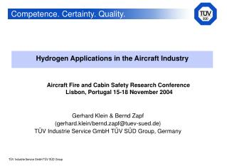 Hydrogen Applications in the Aircraft Industry