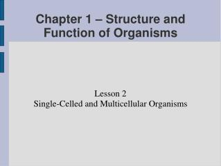 Chapter 1 – Structure and Function of Organisms