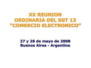"""XX REUNION ORDINARIA DEL SGT 13  """"COMERCIO ELECTRONICO"""" 27 y 28 de mayo de 2008"""