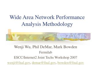 Wide Area Network Performance Analysis Methodology