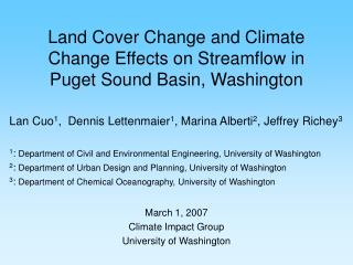 Land Cover Change and Climate Change Effects on Streamflow in Puget Sound Basin, Washington