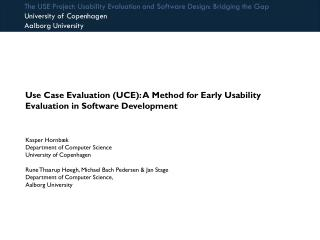 Use Case Evaluation (UCE): A Method for Early Usability Evaluation in Software Development