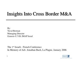 Insights Into Cross Border M&A