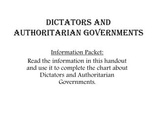 Dictators and Authoritarian Governments