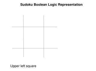 Sudoku Boolean Logic Representation