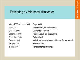 Våren 2003 – januar 2004Forprosjekt Mai 2004Møte med regional filmbransje
