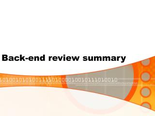Back-end review summary