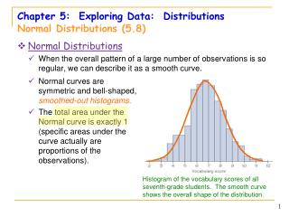 Chapter 5:  Exploring Data:  Distributions Normal  Distributions (5.8)