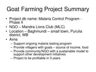 Goat Farming Project Summary