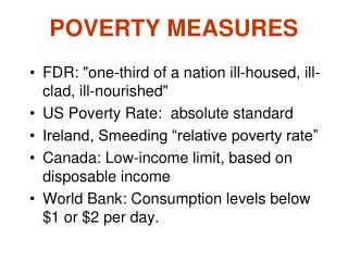POVERTY MEASURES