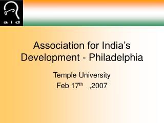 Association for India�s Development - Philadelphia