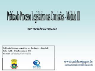 Prática do Processo Legislativo nas Comissões – Módulo III Data: 02, 05 e 06 de fevereiro de 2009
