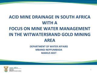 DEPARTMENT OF WATER AFFAIRS MBANGI NEPFUMBADA MARIUS KEET