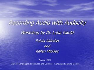 Recording Audio with Audacity