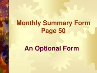 Monthly Summary Form Page 50