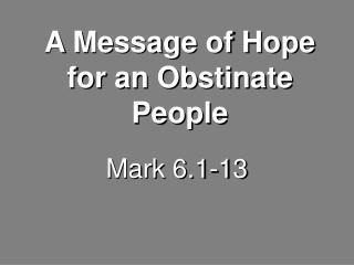 Mark 6.1-13