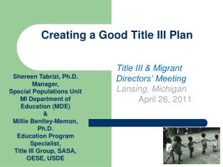 Creating a Good Title III Plan
