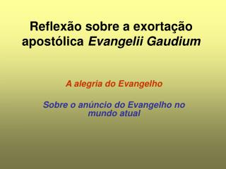 Reflex�o sobre a exorta��o apost�lica  Evangelii Gaudium