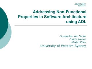 Addressing Non-Functional Properties in Software Architecture using ADL