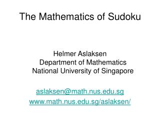The Mathematics of Sudoku
