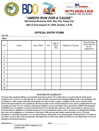 """""""AMEPA RUN FOR A CAUSE"""" SM Central Business Park, Bay City, Pasay City"""