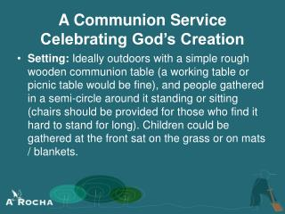 A Communion Service Celebrating God's Creation