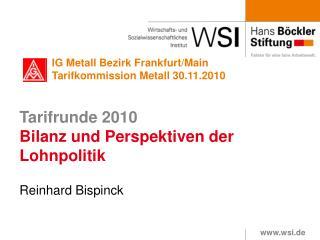 Tarifrunde 2010 Bilanz und Perspektiven der Lohnpolitik