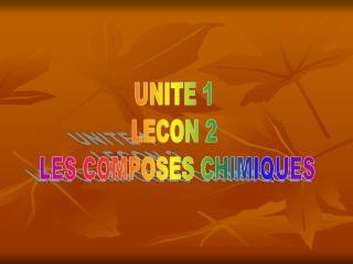 UNITE 1  LECON 2  LES COMPOSES CHIMIQUES