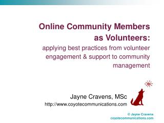 Jayne Cravens, MSc coyotecommunications