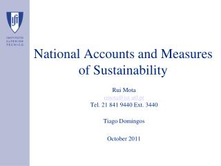 National Accounts and Measures of Sustainability