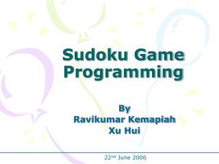 Sudoku Game Programming