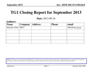 TG1  Closing Report  for  September  2013