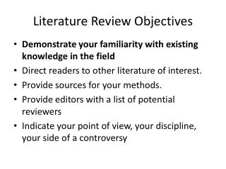 Literature Review Objectives