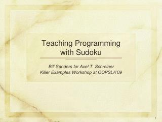 Teaching Programming with Sudoku