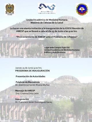 Unidad Académica de Medicina Humana Maestría de Ciencias de la Salud