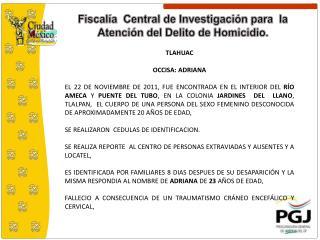 Fiscalía  Central de Investigación para  la Atención del Delito de Homicidio.