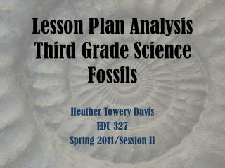 Lesson Plan Analysis Third Grade Science Fossils