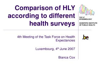 Comparison of HLY according to different health surveys