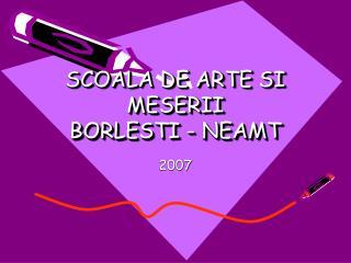SCOALA DE ARTE SI MESERII BORLESTI - NEAMT