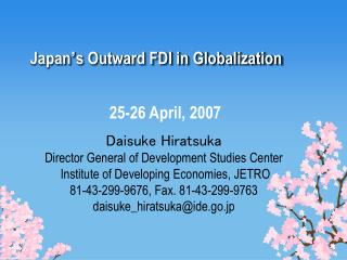 Japan s Outward FDI in Globalization