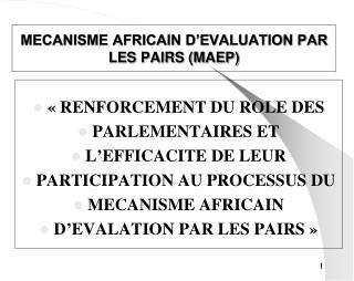 MECANISME AFRICAIN D'EVALUATION PAR LES PAIRS (MAEP)