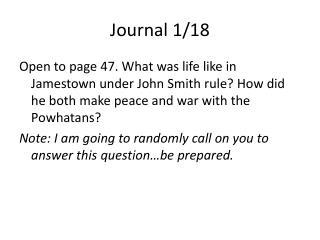 Journal 1/18