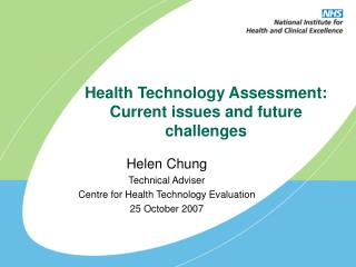 Health Technology Assessment: Current issues and future challenges