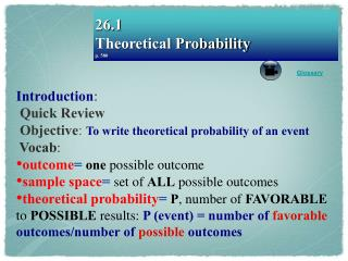 26.1 Theoretical Probability p. 580