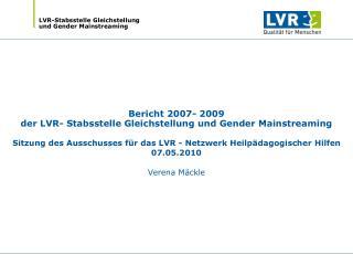 Drei Handlungsfelder der LVR- Stabsstelle Gleichstellung und Gender Mainstreaming